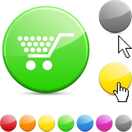 Shopping glossy vibrant round icon.  Stock Vector - 7156267