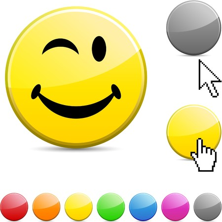 wink: Smiley glossy vibrant round icon.  Illustration