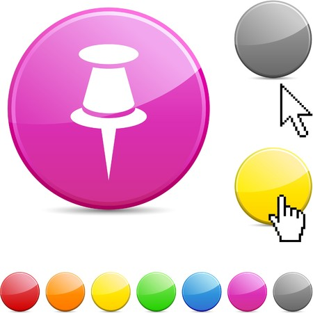 Drawing-pin glossy vibrant round icon. Stock Vector - 7156262