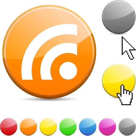 Rss glossy vibrant round icon. Stock Vector - 7156259