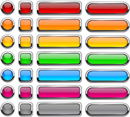 rectangle button: Blank buttons with chrome border.  Illustration