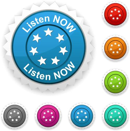 Listen now award button. Vector