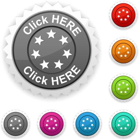 Click here award button. Vector