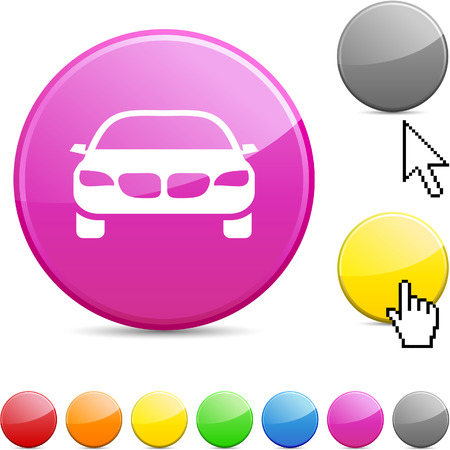 Car glossy vibrant round icon. Stock Vector - 7168881
