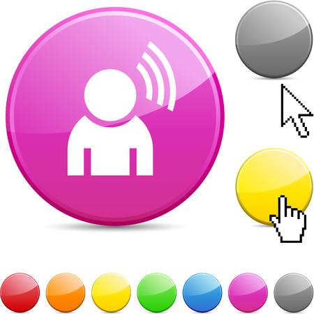 Music glossy vibrant round icon. Stock Vector - 7168878