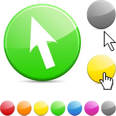 Cursor glossy vibrant round icon.  Stock Vector - 7168854