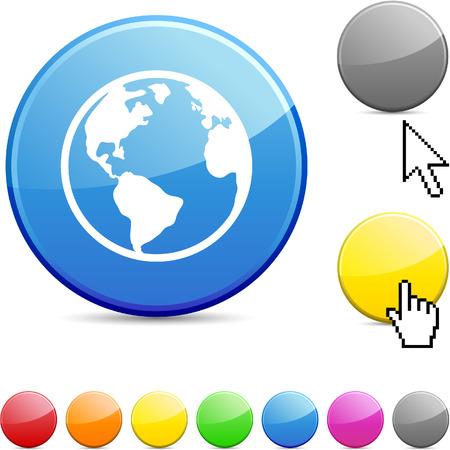 globe arrow: Planet glossy vibrant round icon.  Illustration