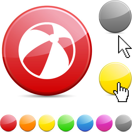 Summer balloon glossy vibrant round icon.  Stock Vector - 7167876