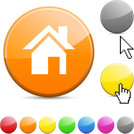 arrow home: Home glossy vibrant round icon.  Illustration