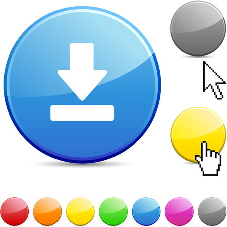 Download glossy vibrant round icon.  Vector