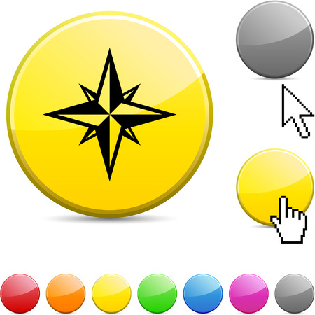 Compass glossy vibrant round icon.  Vector