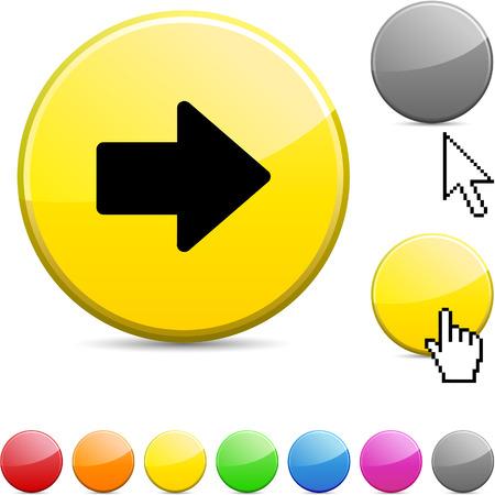Freccia glossy icona rotonda vibrante.