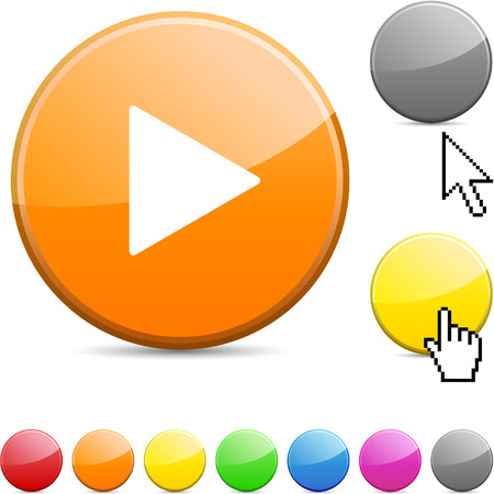 Play glossy vibrant round icon.  Vector