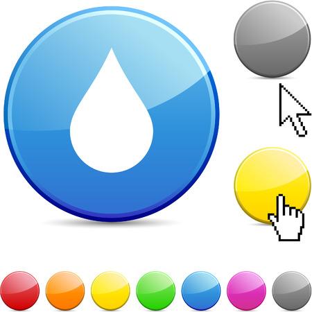 orange water: Rain glossy vibrant round icon.