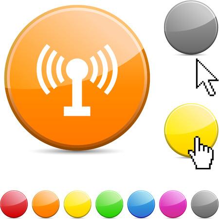 Radio glossy vibrant round icon.  Vector