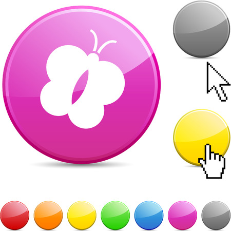 Butterfly glossy vibrant round icon. Stock Vector - 7182187