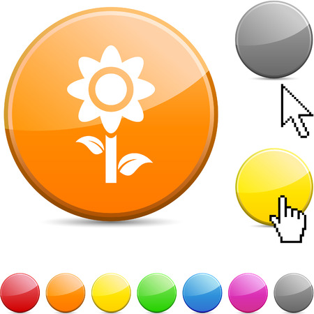 Flower glossy vibrant round icon.  Vector