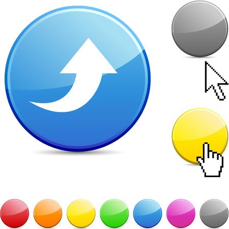 Upload glossy vibrant round icon. Stock Vector - 7182167