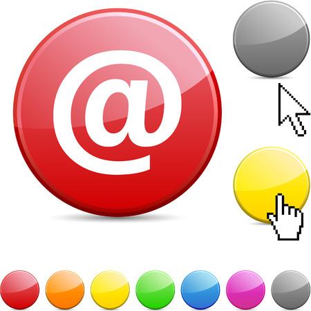 Arroba glossy vibrant round icon.  Illustration