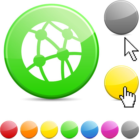 Network glossy vibrant round icon.  Stock Vector - 7195319