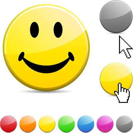 Smiley glossy vibrant round icon. Stock Vector - 7195304