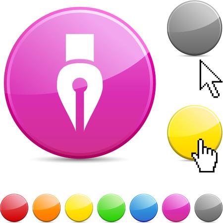 Pen glossy vibrant round icon.  Stock Vector - 7195311