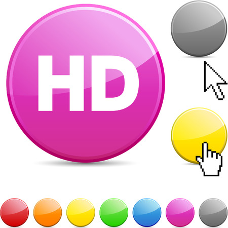 HD glossy vibrant round icon. Stock Vector - 7195352
