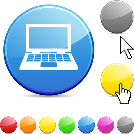 Notebook glossy vibrant round icon. Stock Vector - 7195356