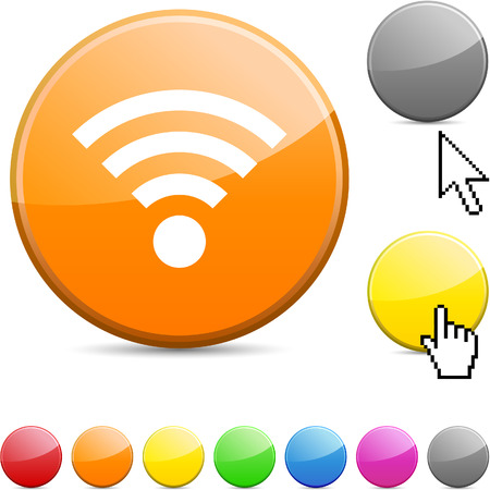 Rss glossy vibrant round icon.  Vector
