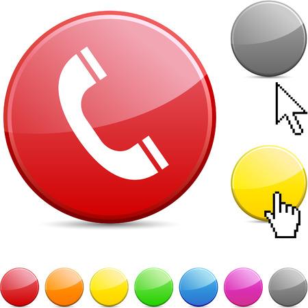 phone button: Telefoon glanzende levendige ronde pictogram.