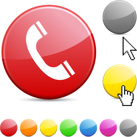 black phone and call: Telephone glossy vibrant round icon.