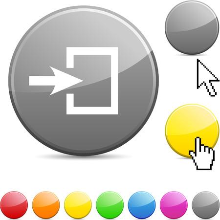 Entrance glossy vibrant round icon.  Vector