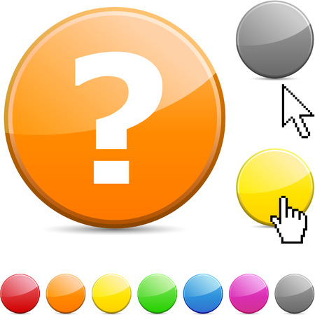 Question glossy vibrant round icon. Stock Vector - 7195351