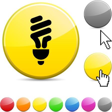 Fluorescent bulb glossy vibrant round icon.  Vector
