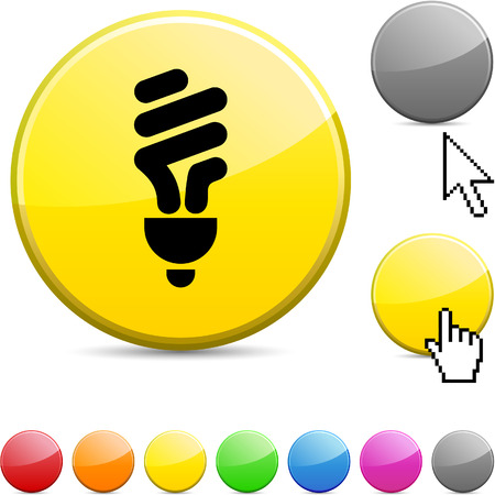 light shadow: Fluorescent bulb glossy vibrant round icon.