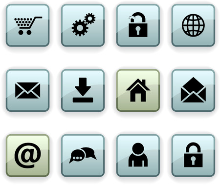 web  set of square dim icons. Stock Vector - 7195366