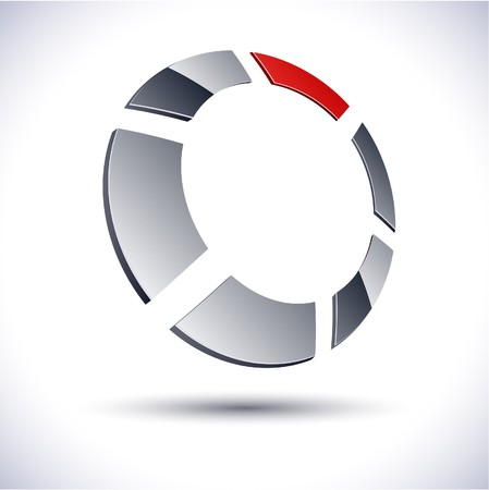 distinct: Illustration of 3d round logo.  Illustration