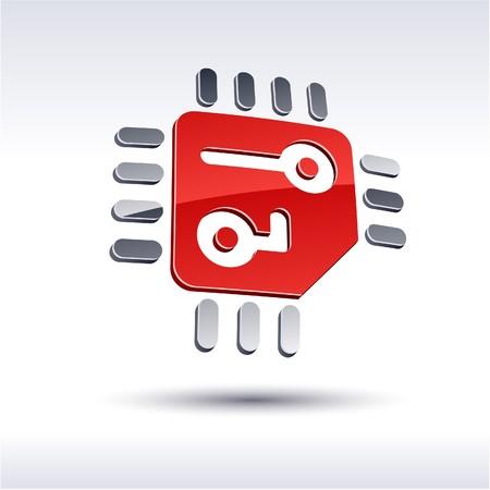 salient: Abstract modern 3d CPU logo. Illustration