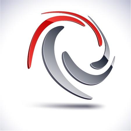 red swirl: Abstract modern 3d swirl logo.