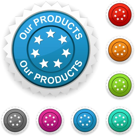 Our products award button. Stock Vector - 7210429