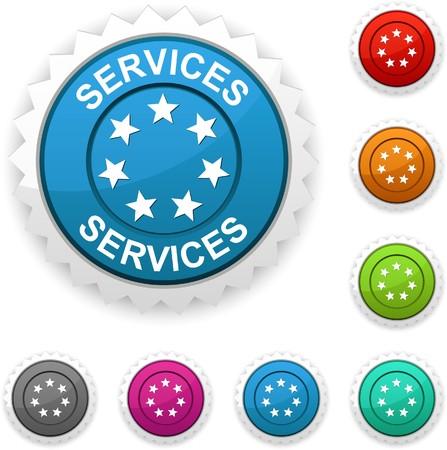 Services award button.  Vector