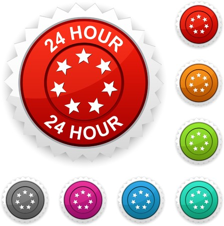 24 hour award button.  Vector