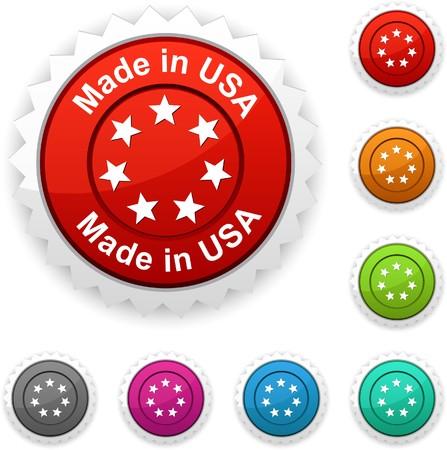 Made in USA award button.  Vector
