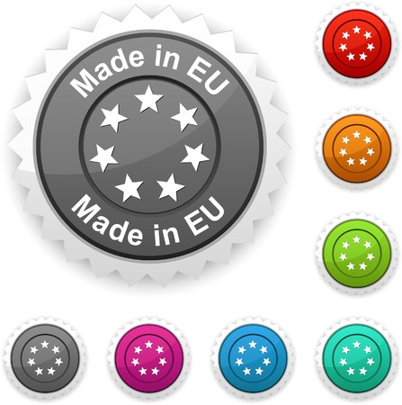 Made in EU award button.   Stock Vector - 7210408