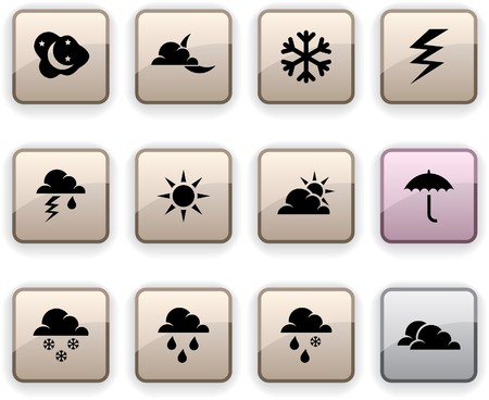 Weather  set of square dim icons. Stock Vector - 7210413