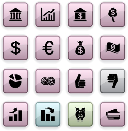 Money  set of square dim icons. Stock Vector - 7210432