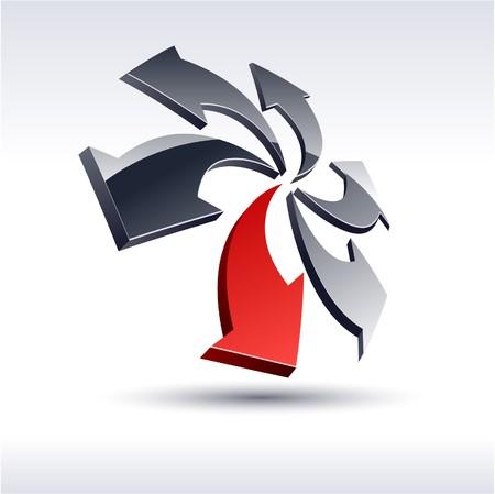 Abstract modern 3d rotation logo.