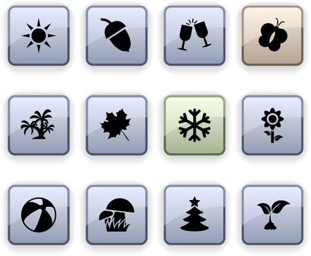 cuatro elementos: Conjunto de temporadas de Plaza dim iconos.  Vectores