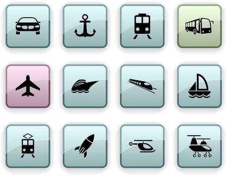Transport set of square dim icons. Vektorové ilustrace