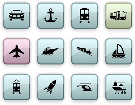 Transport set of square dim icons. Vector